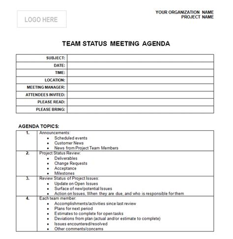 Team Meeting Agenda Template Free professional agenda formats new calendar template site