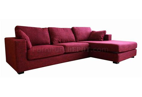 Twill Fabric Sectional Sofa In Burgundy