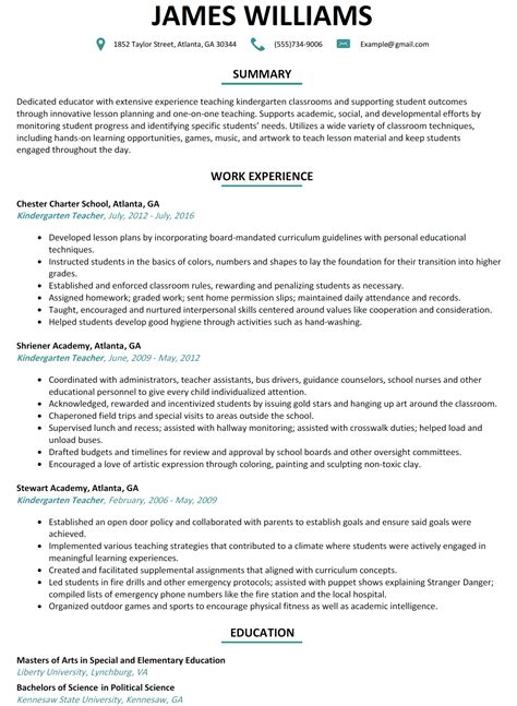 kindergarten teacher resume lifiermountain org