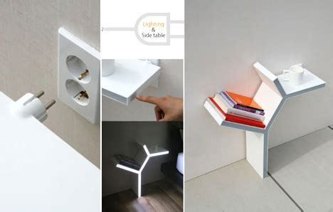 side tables with plugs plugging in a side table yanko design