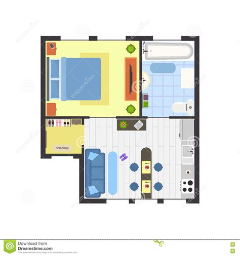 best layout vector apartment floor plan with furniture top view vector stock
