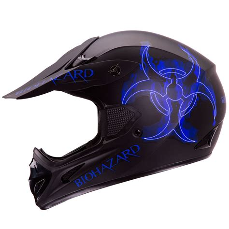 blue motocross blue biohazard matte black motocross atv dirt bike helmet