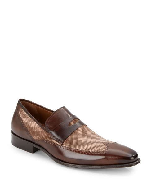 mezlan loafer mezlan two tone leather and suede loafers in brown for
