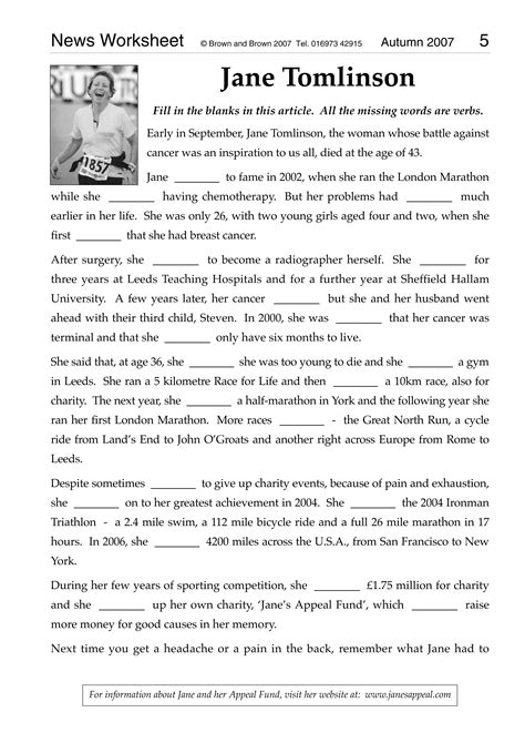 Literacy Worksheets by News Worksheet 2007 The Literacy Specialist