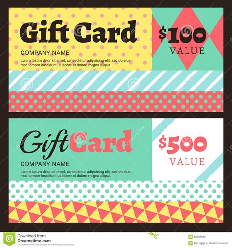 gift card flyer template vector gift card or voucher template with geometric