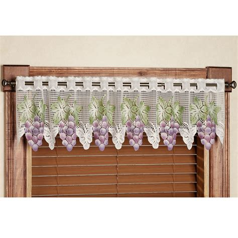 grape coloured curtains vineyard grape lace tier window treatment