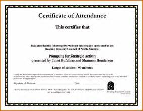 certificate of attendance templates for training