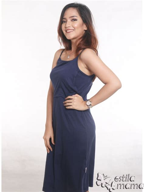 Dress Tali Kecil tankdress menyusui midi biru tua estila