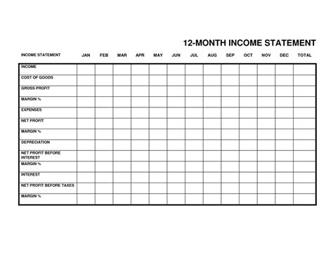 monthly income statement spreadsheet templates for busines