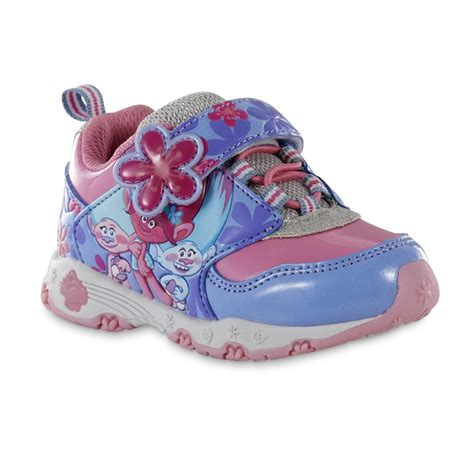 light pink baby shoes dreamworks girls trolls pink purple light up