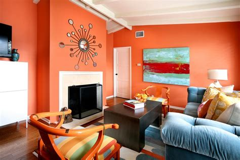 orange living room decor decorating ideas for living rooms with blue walls 2017