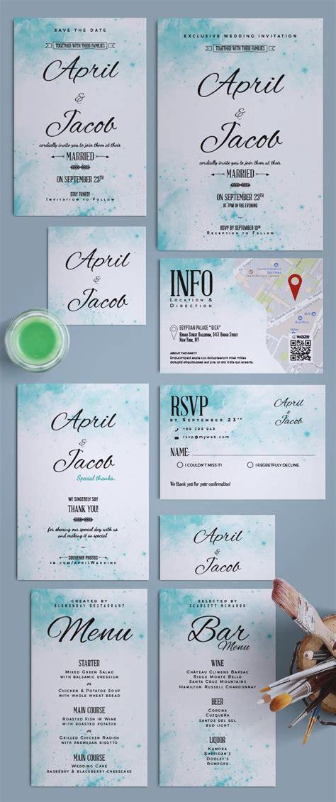 Watercolor Wedding Suite Invitation Indesign Template For Wedding Save The Date Indesign Template