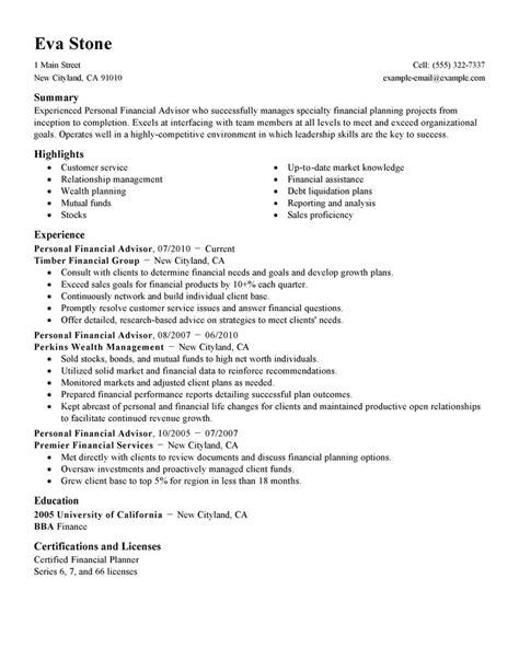 investment advisor resume financial advisor resume financial planner