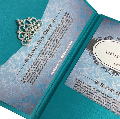 Luxury Wedding Invitations by Light Teal Color Luxury Silk Pocket Fold Design For