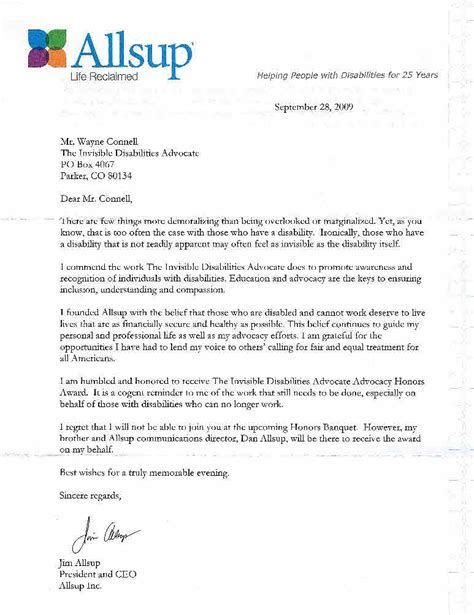 Insurance Acceptance Letter 2009 Advocacy Award Jim Allsup Invisible Disabilities Association Ida