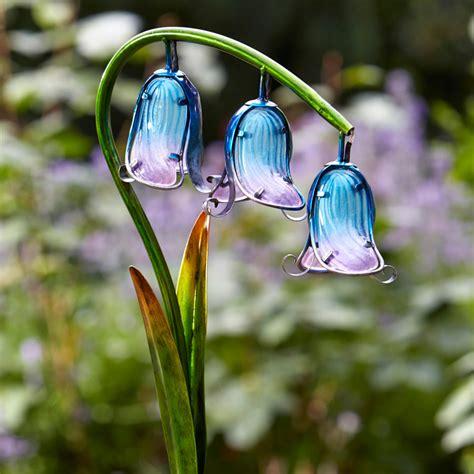 solar flower garden lights solar powered bluebell stake light 2 pack smart garden