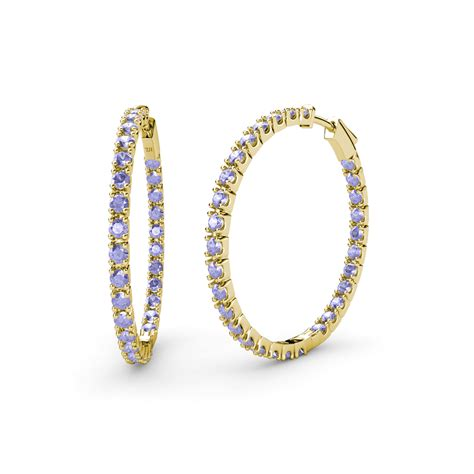 tanzanite inside out hoop earrings 1 98 ct tw in 14k gold