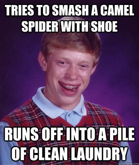 Unlucky Brian Meme - tries to smash a camel spider with shoe runs off into a