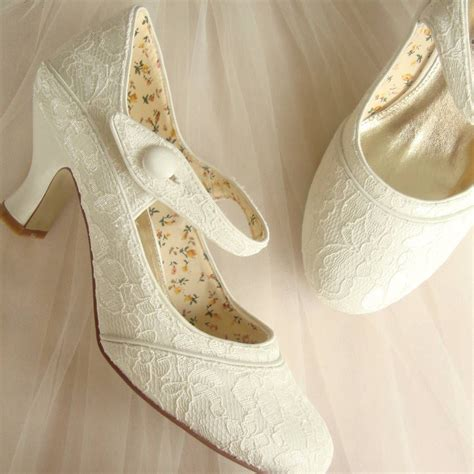 Bridal Slippers With Heel by Stunning White Lace Wedding Low Heel Shoes Trends4ever