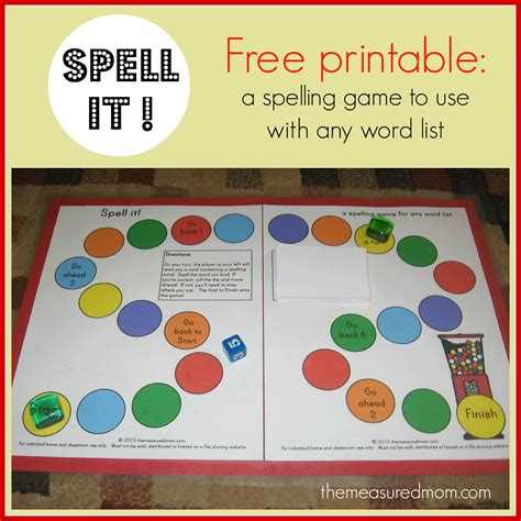 printable spelling games spell it a printable spelling game for any word list k