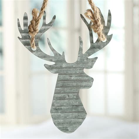 corrugated galvanized metal reindeer ornament