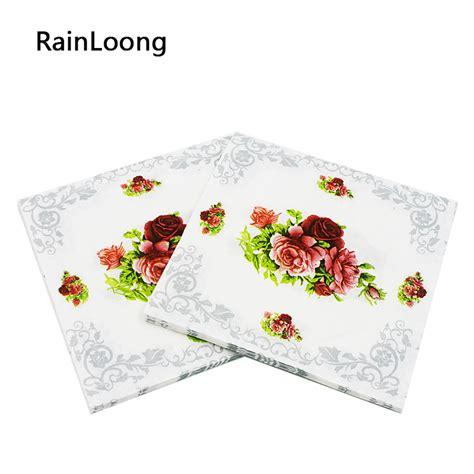 Napkin Tissue Decoupage 375 aliexpress buy rainloong flower paper napkin festive tissue napkins