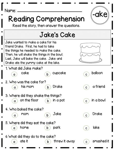 reading comprehension test narrative reading comprehension passages questions long vowel