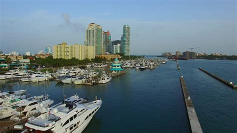 miami marina aerial view fisher island exclusive yachts luxury apartments biscayne bay miami florida usa