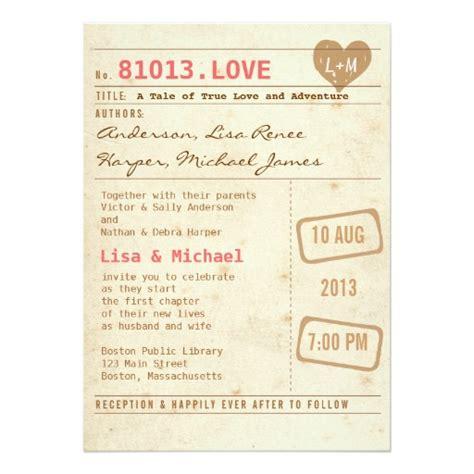 library wedding invitations vintage library card wedding invitation card