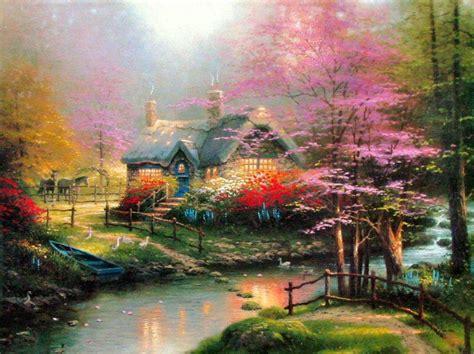 thomas kinkade stepping stone cottage painting framed