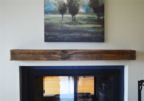 reclaimed lumber floating shelves rustic fireplace