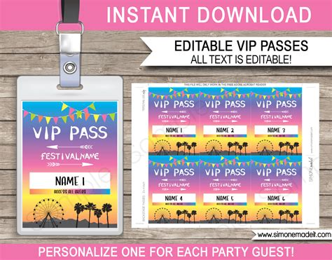 Printable Coachella Party Vip Passes Festival Birthday Party Vip Ticket Template