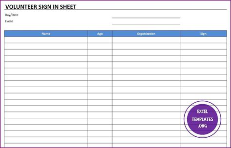 volunteer sign up sheet templates volunteer sign in sheet template excel templates excel