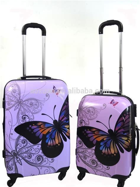 beautiful suitcases 2014 hot sell butterfly luggage beautiful abs luggage bags