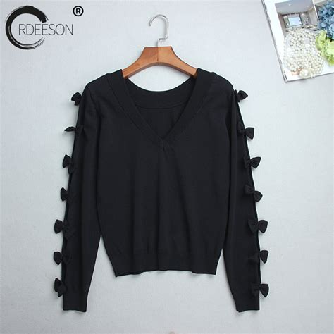 black and white knitted jumper ordeeson fall black white v neck pullover bow sweaters