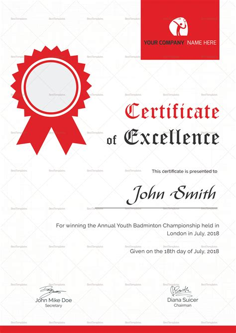 badminton certificate template badminton excellence certificate design template in psd word