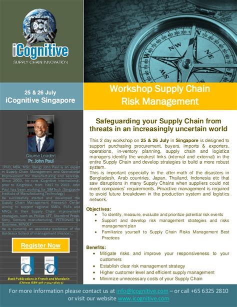 Mba In Supply Chain Management In Singapore by Icognitive Supply Chain Risk Management Workshop Singapore