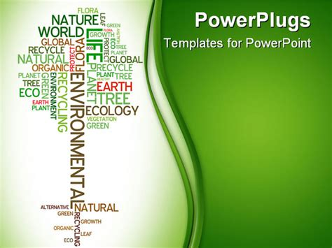 ppt themes on environment powerpoint template tree made of words related to ecology