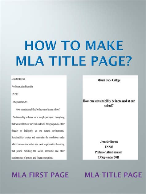 Mla Format For Title Page Of Essay by Mla Title Page Step By Step