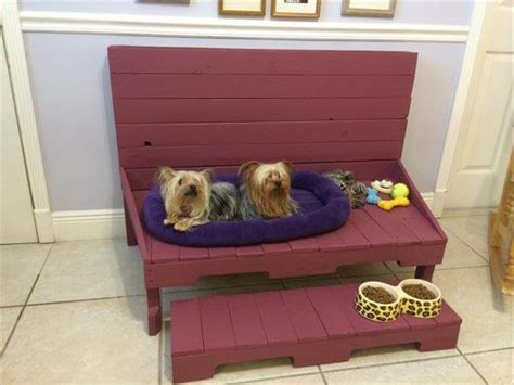dog bed bench diy pallet dog bed with tennis ball storage 101 pallets