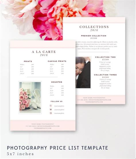 wedding price list template photography price list template pricing sheet guide