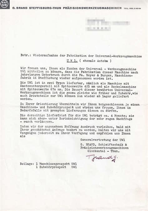 Schweiz Brief Deutschland Meyer Burger 171 Uw1
