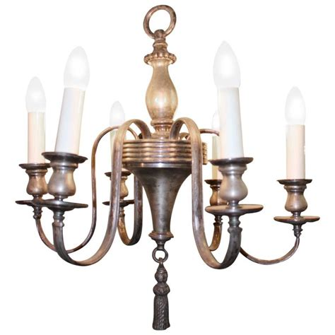 1920s Chandelier 1920s Silver Plated Six Light Colonial Style Chandelier For Sale At 1stdibs