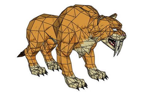 Tiger Papercraft - sabertooth tiger free papercraft