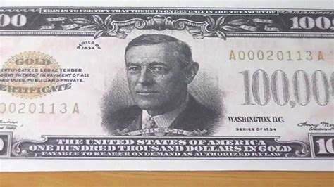 100 000 Dollar In Der Who Was Woodrow Wilson The 100 000 Us Dollar Banknote