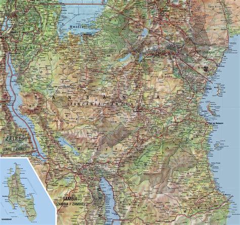 physical map of tanzania maps tanzania map