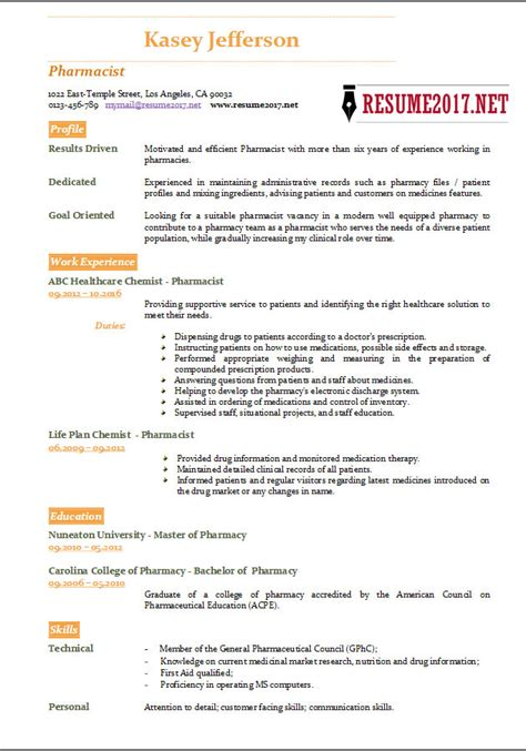 Pharmacist Resume Template by Pharmacist Resume 2017 Templates