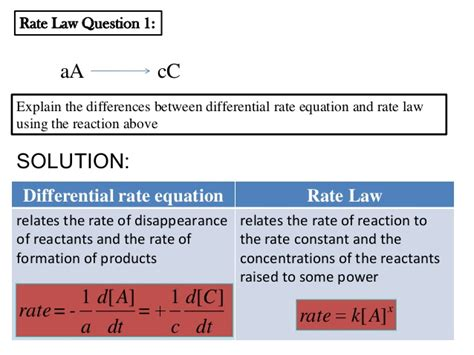 tutorial questions on rate of reaction 8 1 rate law