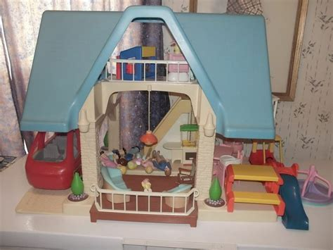 little tikes doll house vintage little tikes blue roof doll house when i was a kid 90 s pinterest