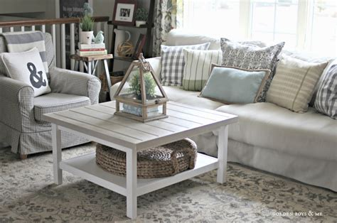 Farmhouse Style Living Room Features Square White Ikea White Living Room Tables